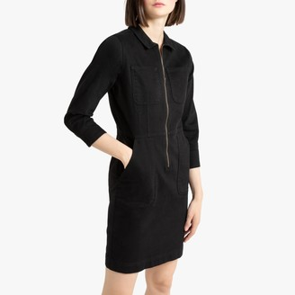 La Redoute Collections Cotton Utility Shirt Dress with Long Sleeves and Pockets