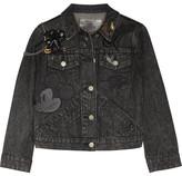 Marc Jacobs Embellished Appliquéd Denim Jacket - Black