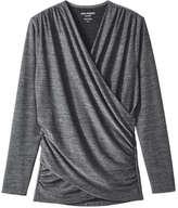 Joe Fresh Women's Faux Wrap Active Top, Black (Size M)