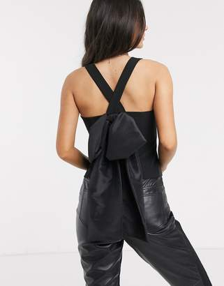 Asos Design DESIGN cami top with extreme bow back detail-Black