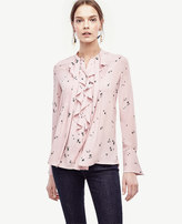 Ann Taylor Floral Tie Neck Ruffle Blouse