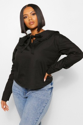 boohoo Plus Large Collar Tie Front Blouse