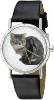 Whimsical Watches Kids' R0120035 Classic American Shorthair Cat Black Leather And Silvertone Photo Watch