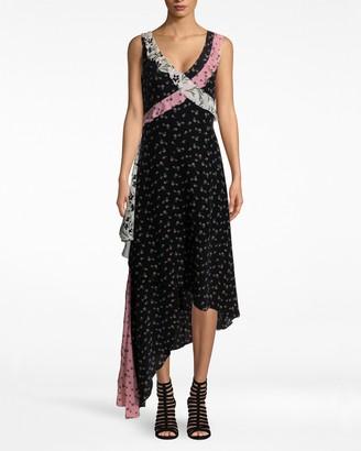Nicole Miller Tulip Ditzy Asymmetrical Ruffle Dress
