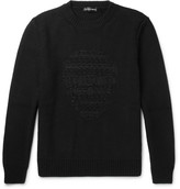 Alexander McQueen Skull-embroidered Wool And Cashmere-blend Sweater - Black