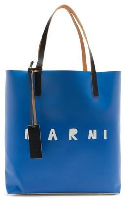 Marni Logo-print Coated-canvas Tote Bag - Blue Multi
