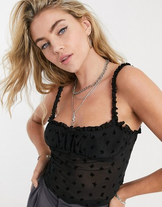 Motel strappy milk maid top with frill sleeves in butterfly flocking