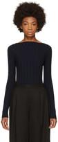 Enfold Navy Ribbed High Neck Pullover