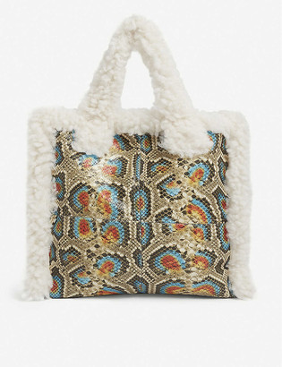 Stand Lolita faux-shearling and snakeskin-effect tote bag