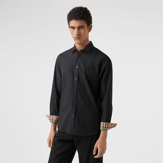 Burberry Slim Fit Monogram Motif Stretch Cotton Poplin Shirt