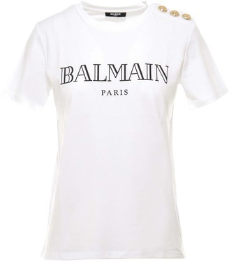 Balmain Logo Print Button Detailed T-Shirt