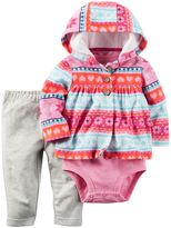 Carter's Baby Girl Bodysuit, Hooded Fleece Cardigan & Pants Set