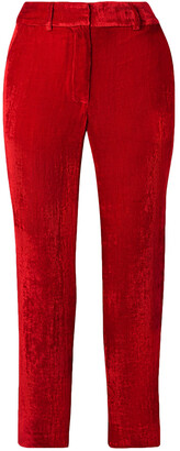 Sies Marjan Willa Cropped Silk And Cotton-blend Corduroy Straight-leg Pants