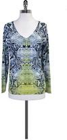 Magaschoni Blue & Yellow Snakeskin Print Sweater