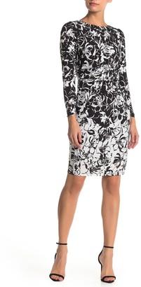 Taylor Long Sleeve Printed Jersey Knit Sheath Dress (Petite)