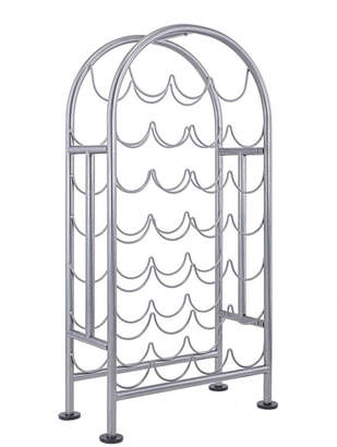Old Dutch International 27 Bottle Metal Antique Pewter Wine Rack, Rta