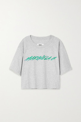 MM6 MAISON MARGIELA Printed Melange Cotton-jersey T-shirt - Gray