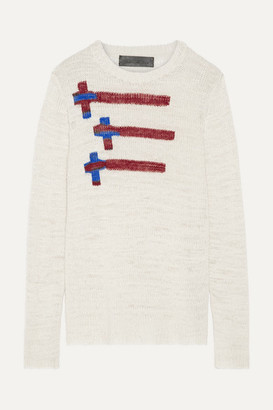 The Elder Statesman Flying Crosses Intarsia Cashmere Sweater - Off-white
