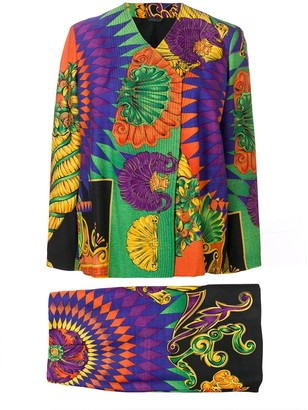 Versace Pre Owned 1990's Printed Skirt Suit