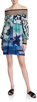 Fuzzi Off-the-Shoulder Long-Sleeve Short Dress