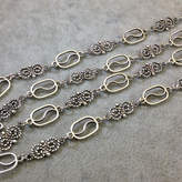 """Etsy 39"""" Silver Finish Chain and Swirl Necklace 14mm Open Links - Smooth and Twisted Design - No Clasp -"""