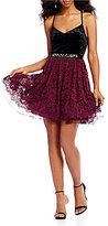 Jodi Kristopher Velvet Bodice Fit and Flare Dress