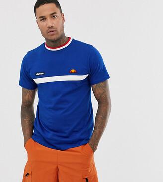 Ellesse Lamora stripe t-shirt with rib neck in blue exclusive at ASOS
