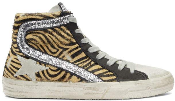 Golden Goose Beige and Black Calf-Hair Zebra Sneakers
