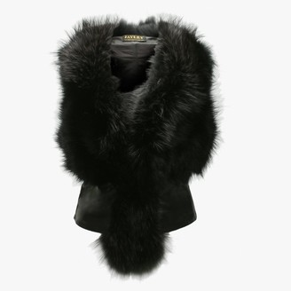 Jayley Black Leather Back Fur Gilet