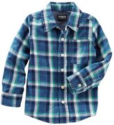 Osh Kosh Toddler Boys Flannel Plaid Button-Front Shirt