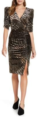 Eliza J Ruched Plaid Velvet Party Dress