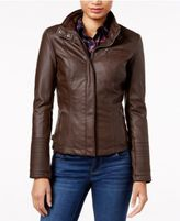 Celebrity Pink Juniors' Faux-Leather Stand-Collar Jacket