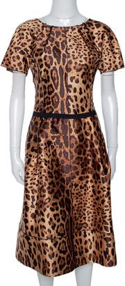 Dolce & Gabbana Brown Animal Print Silk Midi Dress M