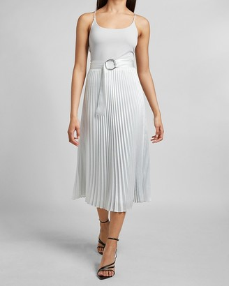 Express High Waisted Belted Pleated Midi Skirt