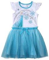 Disney Girls' Frozen Flutter Sleeve Dress White/Blue
