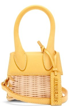 Jacquemus Le Chiquito Leather And Wicker Cross-body Bag - Yellow Multi