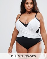 Asos Supportive Mono Wrap Front Panel Swimsuit