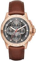 Michael Kors Men's Chronograph Ryker Mahogany Leather Strap Watch 43mm MK8519