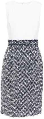 Oscar de la Renta Paneled Wool-blend Crepe And Tweed Dress