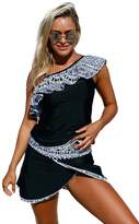 Aleumdr Womens One Ruffle Shoulder Color Block Tankini Top and Criss Cross Swim Skirt Swimsuit Plus Size 2xl