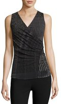 Fuzzi Sleeveless Check-Print Top, Black