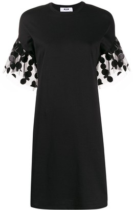 MSGM polka-dot sleeve detail T-shirt dress