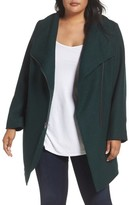 Halogen Plus Size Women's Asymmetrical Zip Boiled Wool Blend Coat