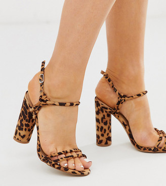 London Rebel wide fit strappy block heel sandals in leopard-Multi