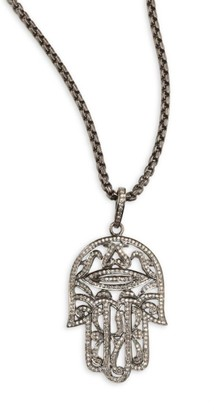 Nina Gilin Diamond Hamsa Pendant Necklace
