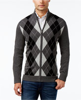 Club Room Men's Pima Cotton Argyle Full Zip Sweater, Only at Macy's