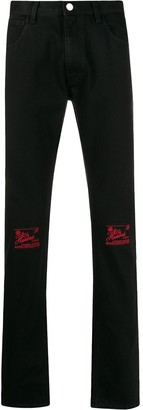 Raf Simons Knee Embroidery Slim-Fit Jeans