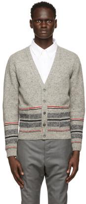 Thom Browne Grey Mohair Jacquard Cricket Stripe Cardigan