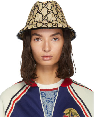 Gucci Beige Small GG Straw Hat