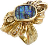 Heritage 18K 0.12 Ct. Tw. Diamond & Fire Opal Ring